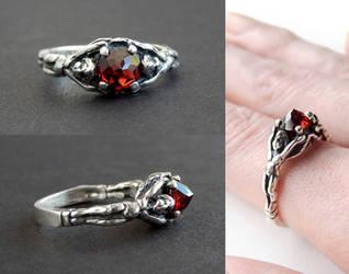 Gothic Garnet Angel Ring by Gweyeni