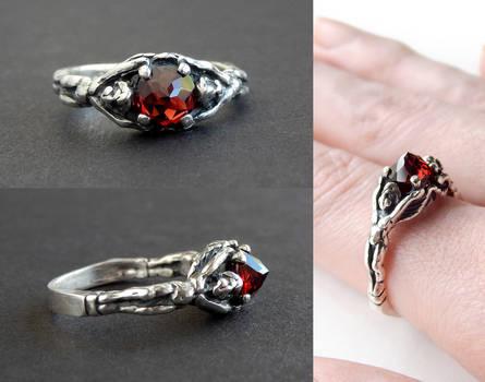 Gothic Garnet Angel Ring