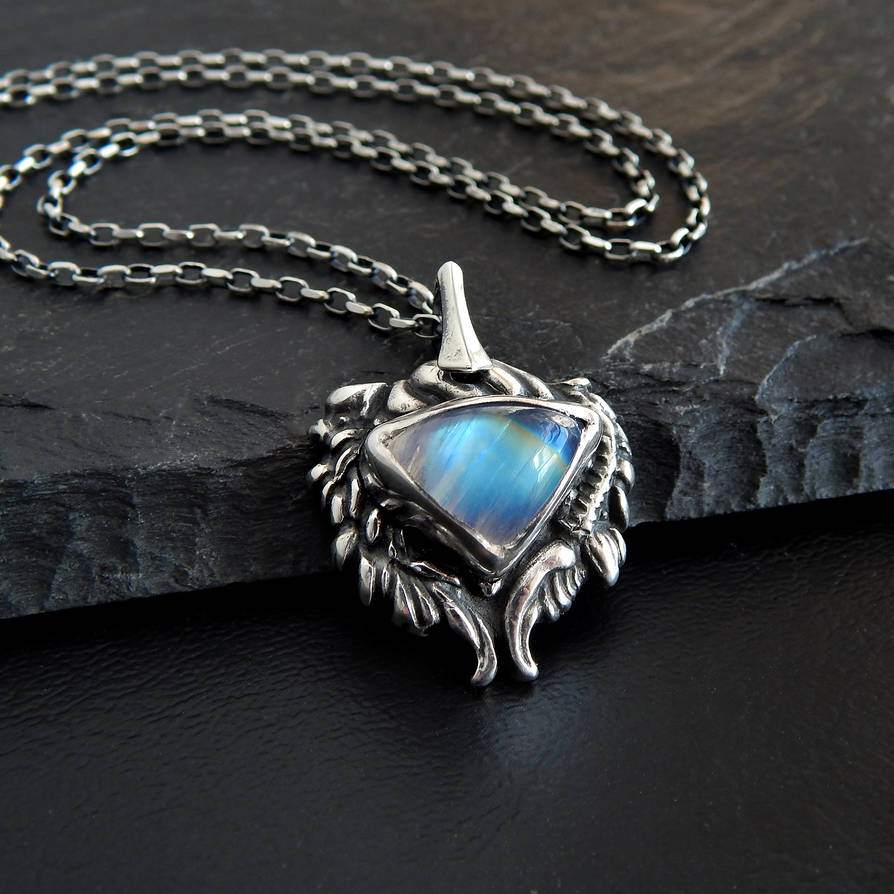 Feather Heart Blue Flash Rainbow Moonstone Pendant by Gweyeni