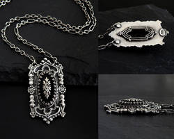 Gothic Onyx Necklace with Vintage Diamond Inset