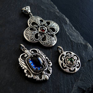 3 Metal Clay Pendants