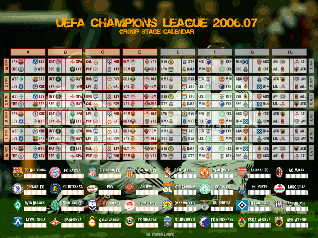 Calendario Uefa Champions League.Champions League Calendar By Foxysilvers On Deviantart