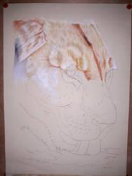 Thirsty Lioness Step 1 (24 x 32 cm) by Reybert