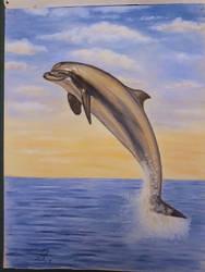 Splashing Dolphin 23 x 32 cm (2017) Good version.. by Reybert