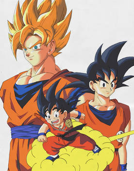 Goku en diferentes etapas