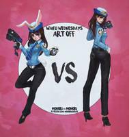 Waifu Wednesdays Art-Off - Bunny Cop D.va by MonoriRogue