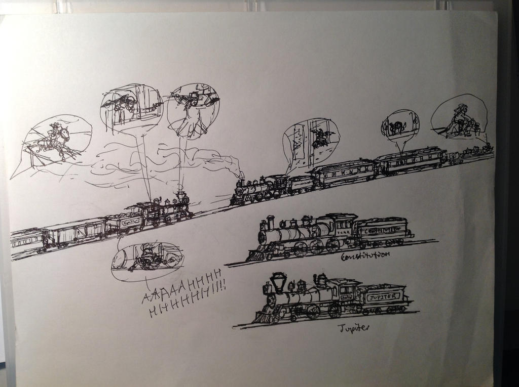 Lone Ranger Train Chase by drawing425 on DeviantArt