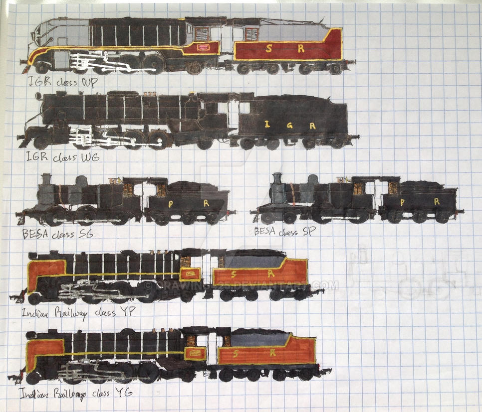 Indian and Pakistani steam locomotives Sprite by drawing425 on