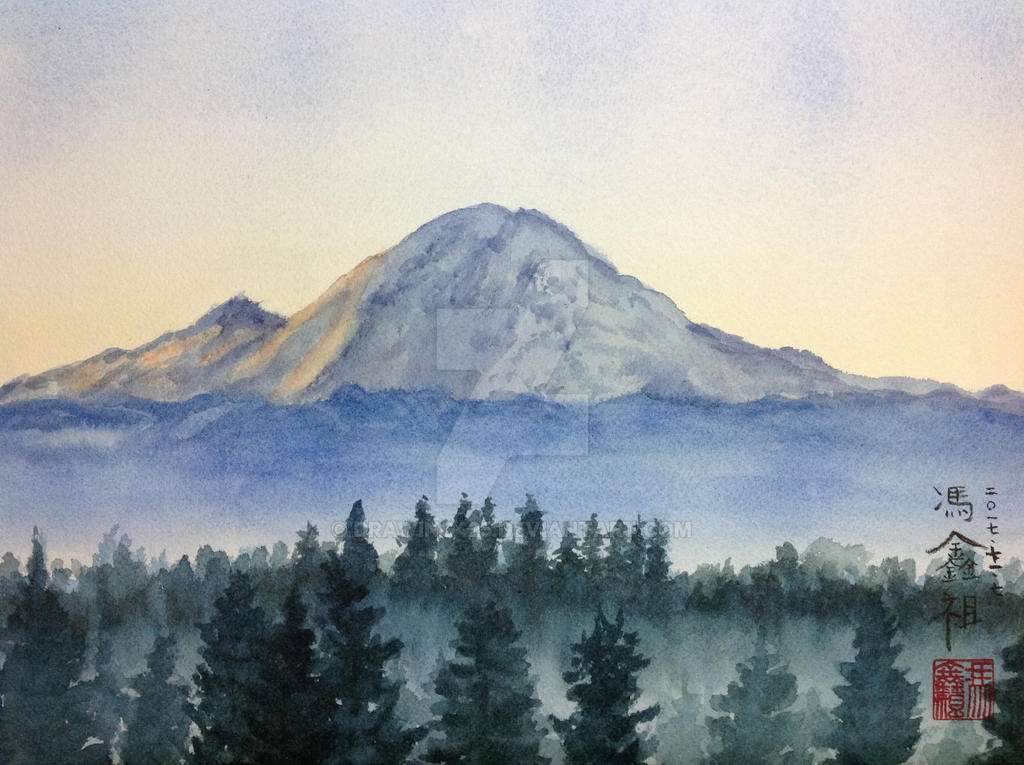 It's just an image of Intrepid Mt Rainier Drawing