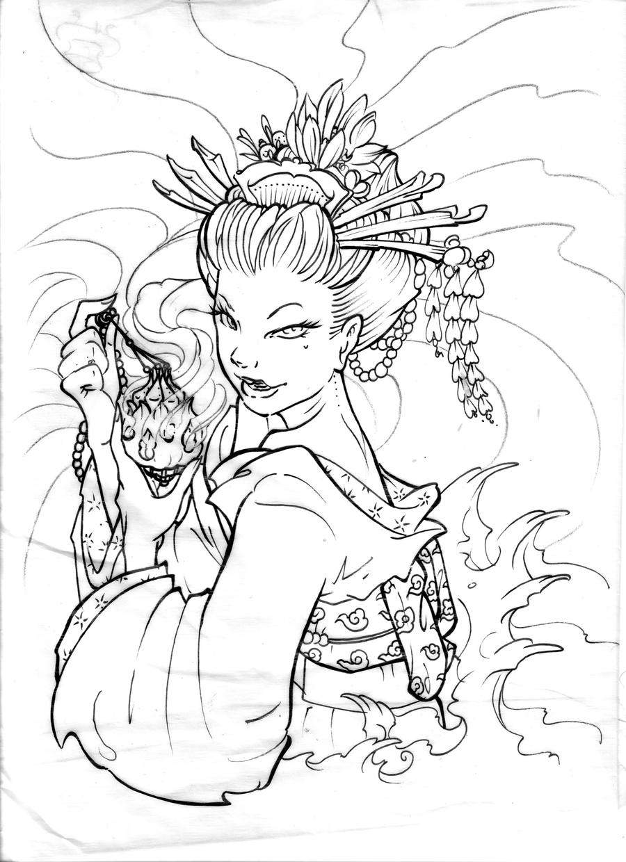 Japanese Geisha Tattoo Drawings