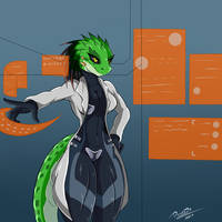 COMM: Lizard Waifu Doctor Thingy. by Snarkymofo