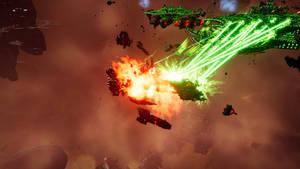 Necrons overwhelm a Strike Cruiser