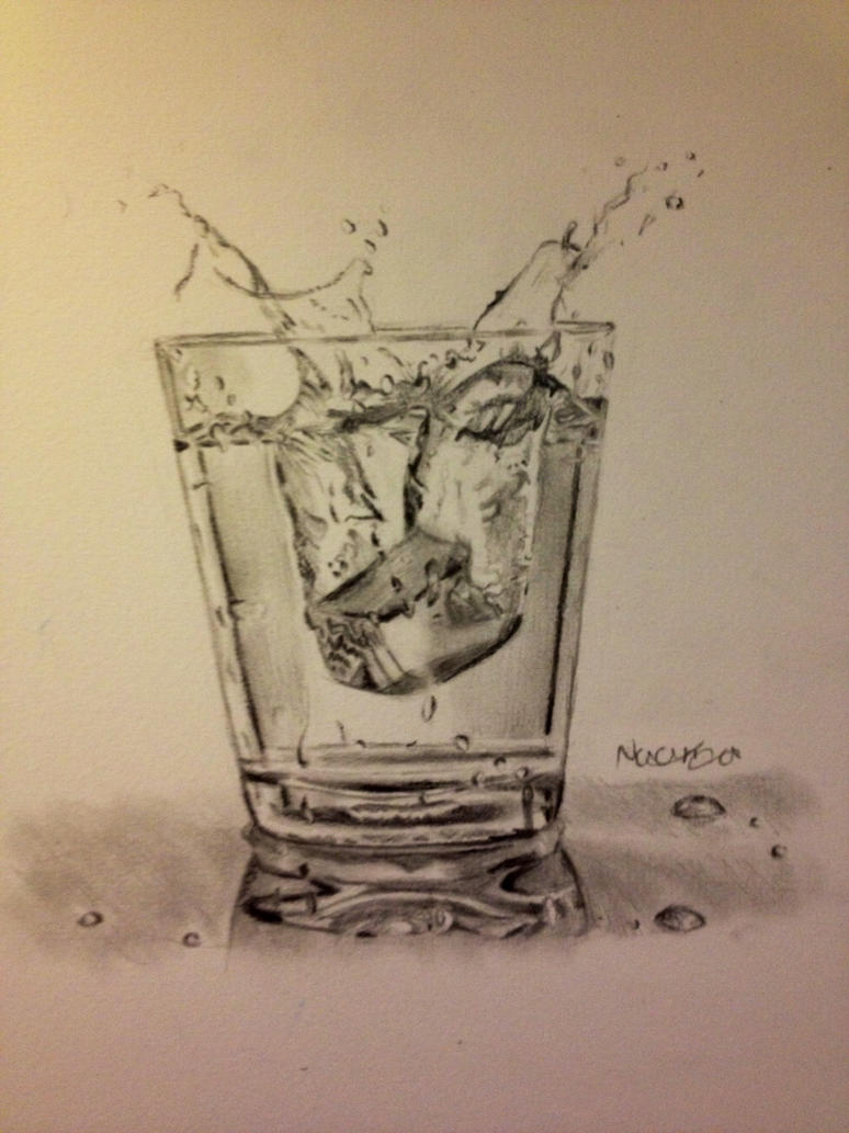Glass Of Water Pencil Drawing - Info