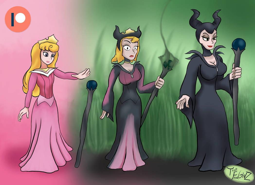 Aurora turns into Maleficent by ThatFreakGivz