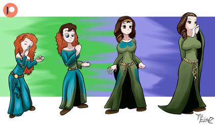 Merida turns into Queen Elinor by ThatFreakGivz