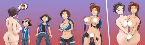 Ash turns into Delia (Censored) by ThatFreakGivz