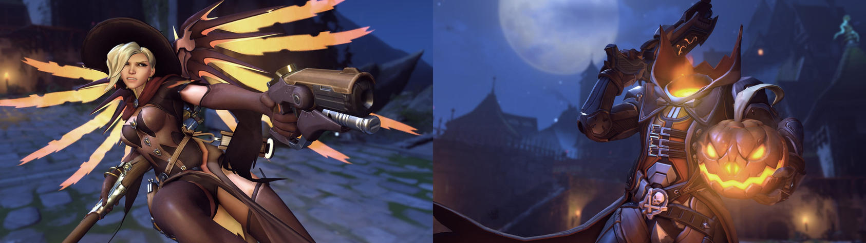 Halloween Mercy and Reaper Dual Wallpaper by The-Role-Player on ...