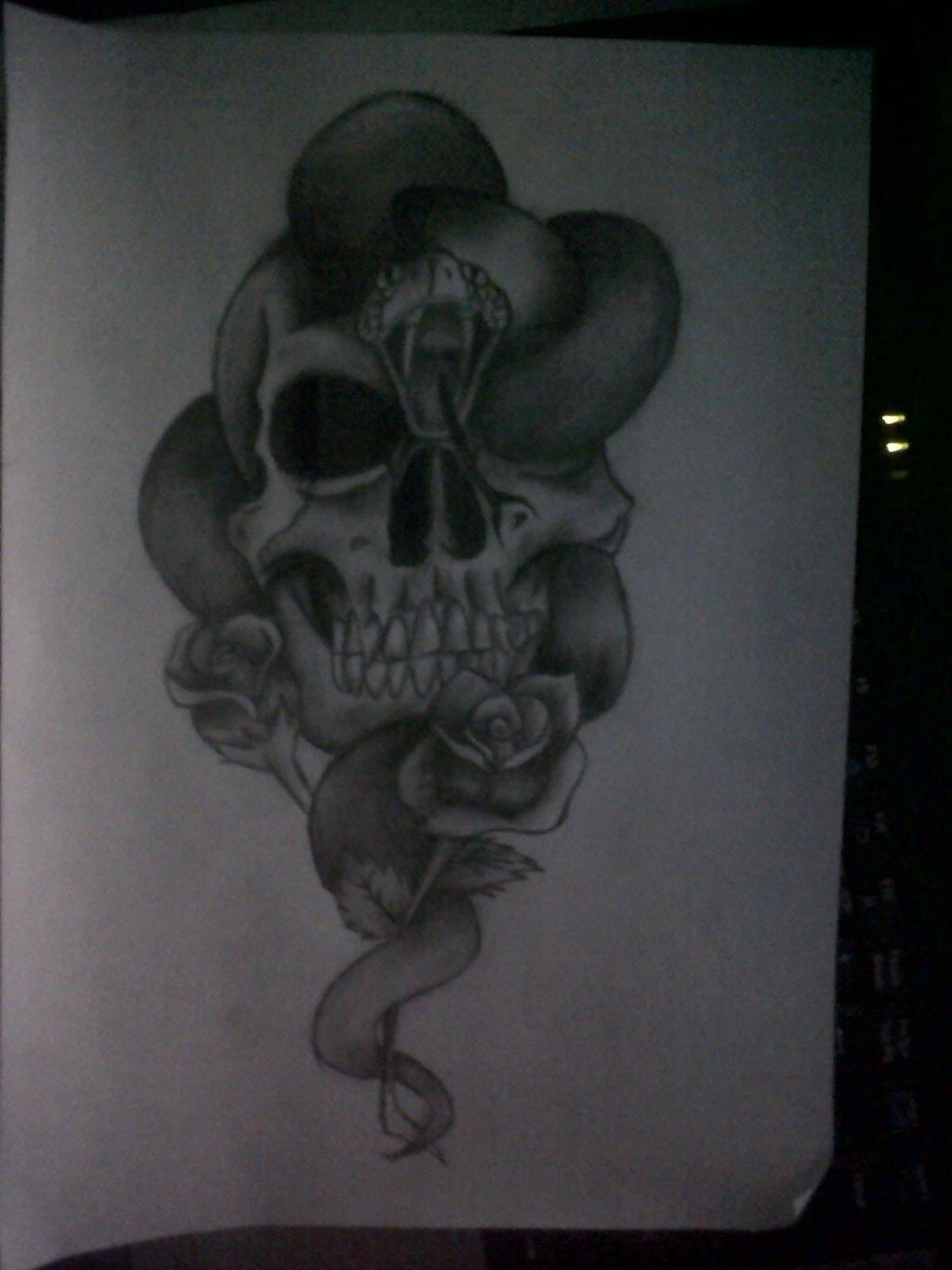 Skulls and Snakes tattoo drawing- Pencil by ...