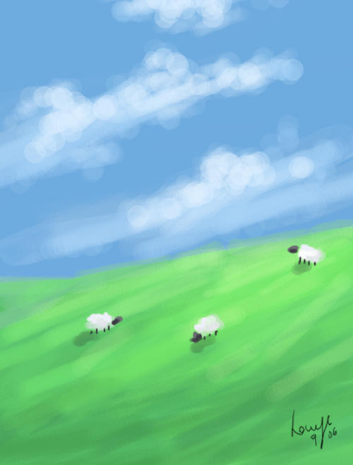 Sheep on a Hill by DryEyez
