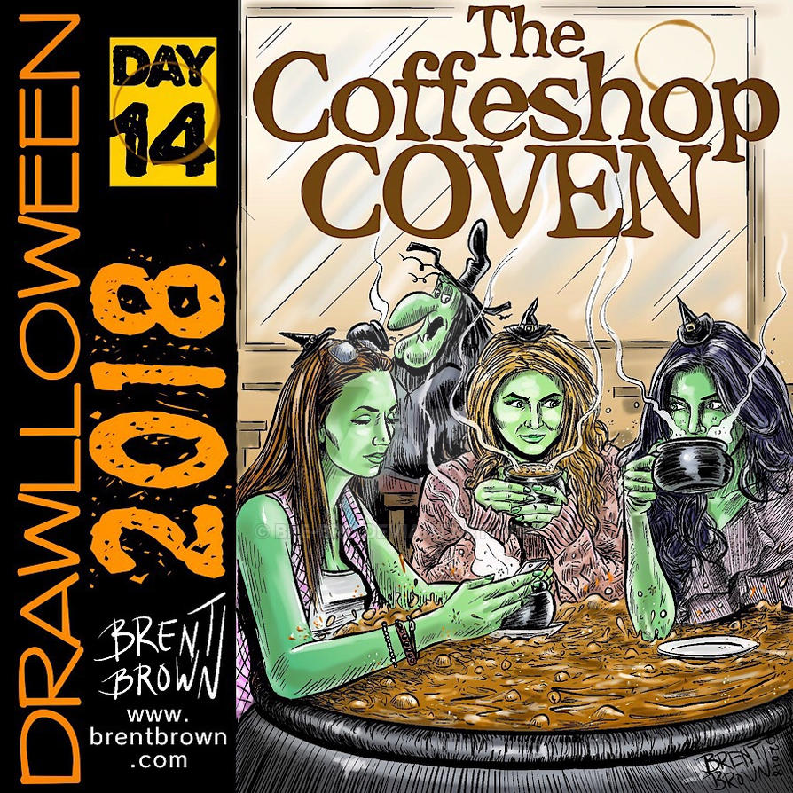 Drawlloween2018-Day-14-CoffeeShopCoven by bre-bro