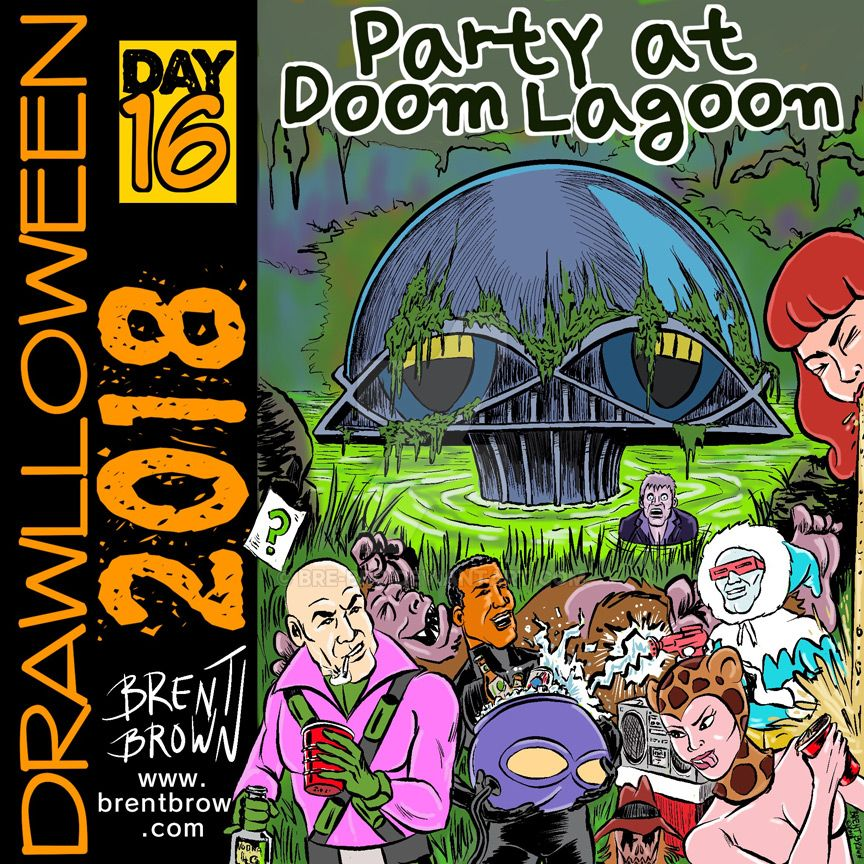 Drawlloween2018-Day-16: Party at Doom Lagoon by bre-bro