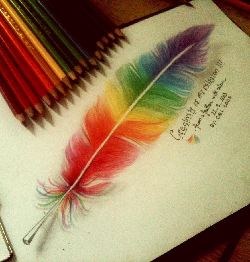Colorful Feather By CielCode