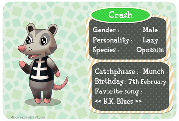 Animal crossing - Opossum by Miocarre