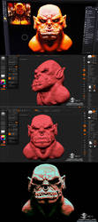 Garrosh bust on Zbrush (My first time on Zbrush) by J-SantamariaCarpio