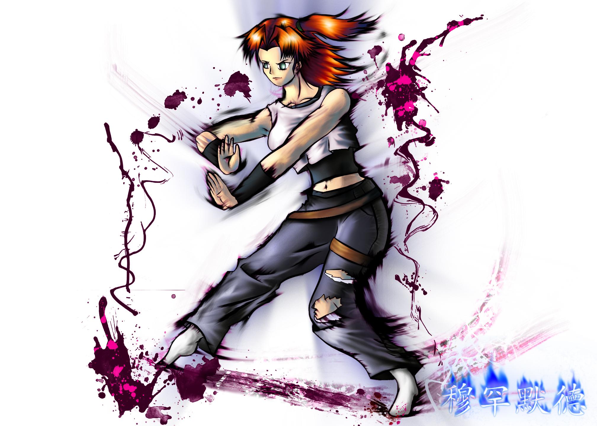 my_fighting_girl___inky_style_by_swordofdeath