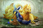 PMD Glaceon and Ninetales by Leashe