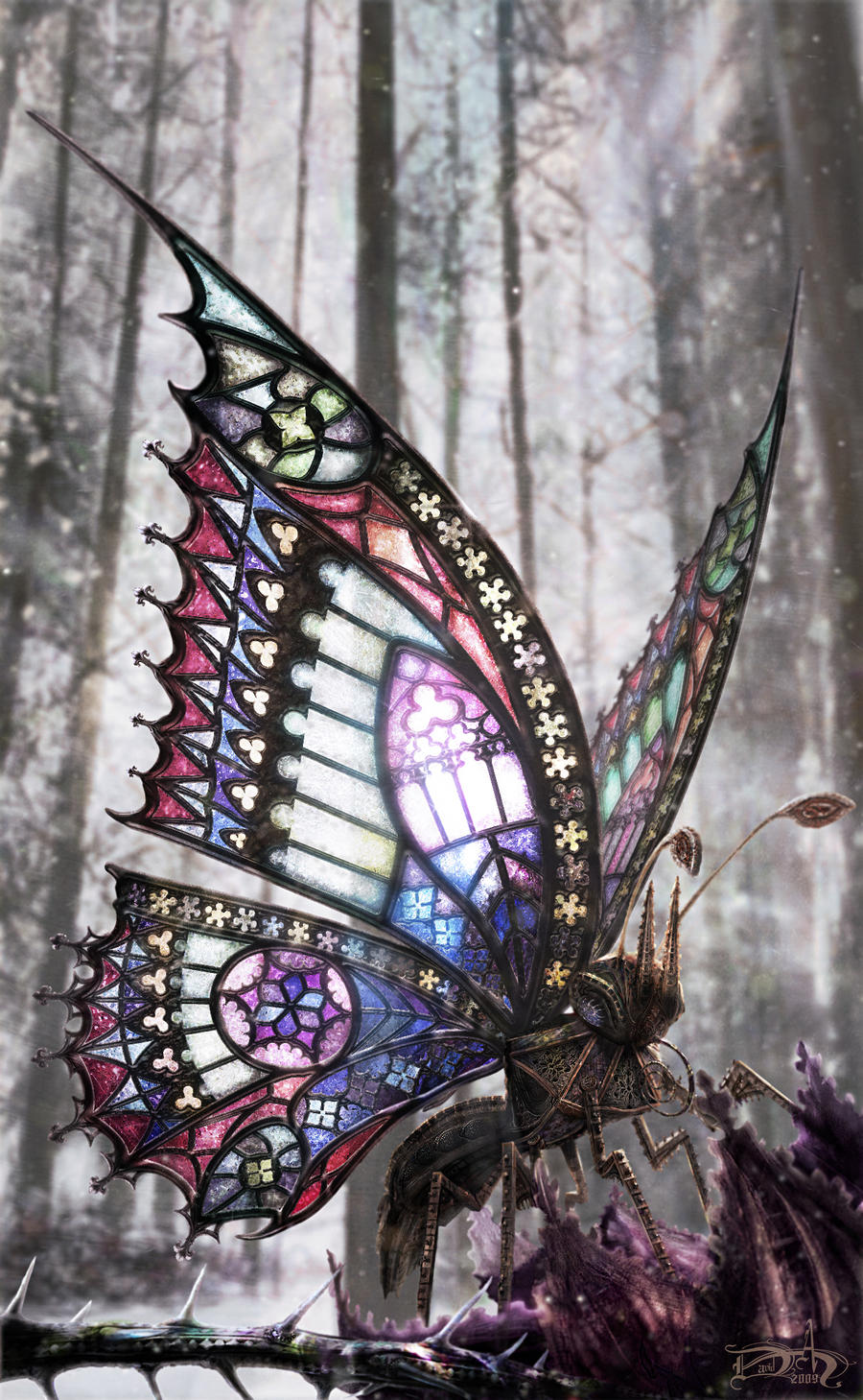 The gothic butterfly by dahoffmann on deviantart for Butterfly stained glass craft
