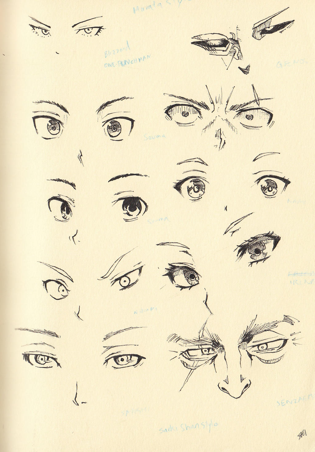 Sketch 20 Eyes And Nose By Shiryu37 On DeviantArt