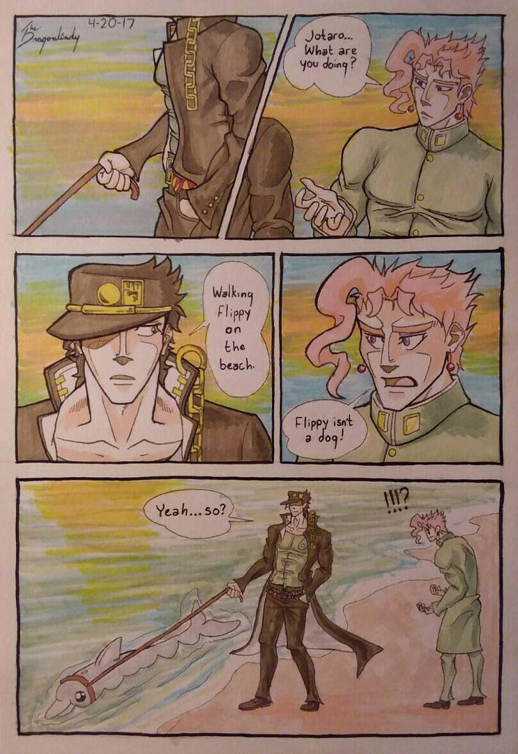Jotaro walking his pet by DragonLindy