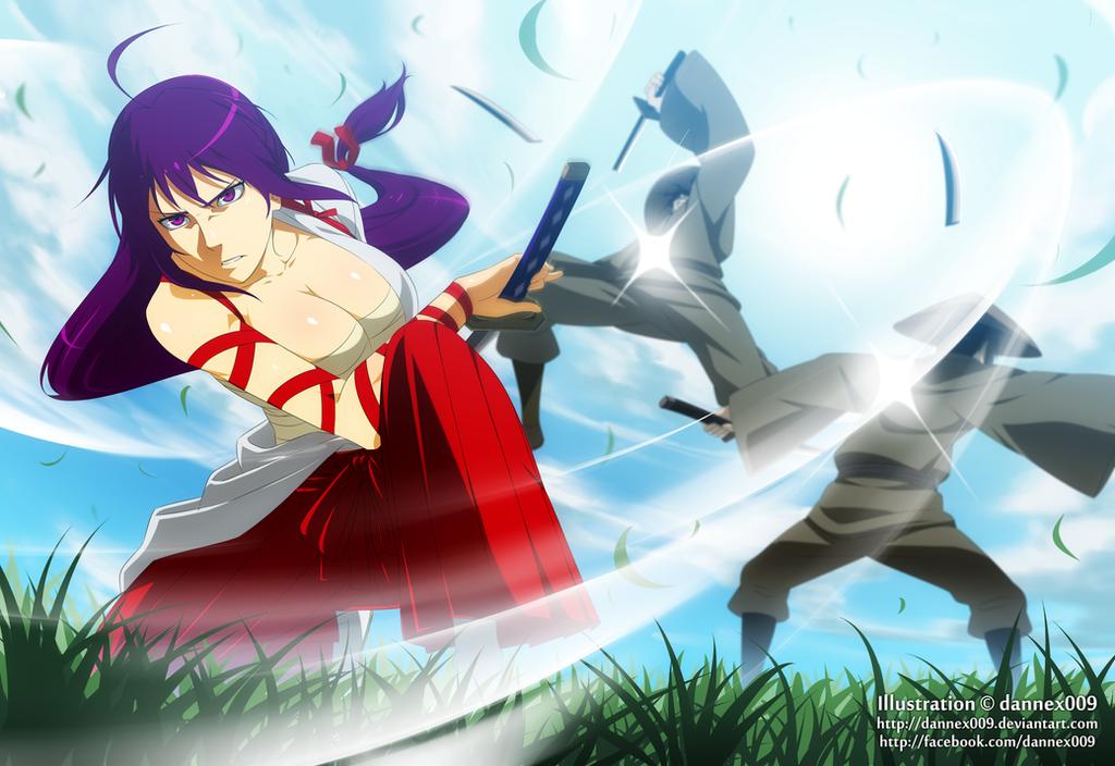 Commish - Deadly Double Dandere Swordswoman by dannex009