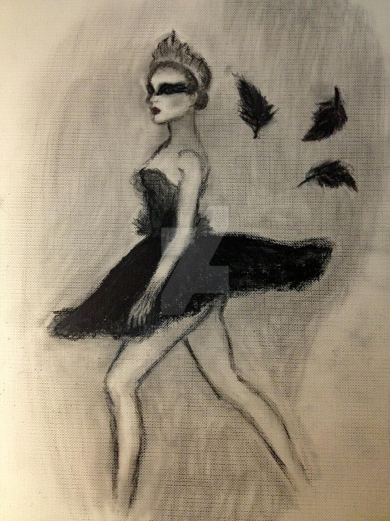 Black Swan charcoal painting by TheLunaLily