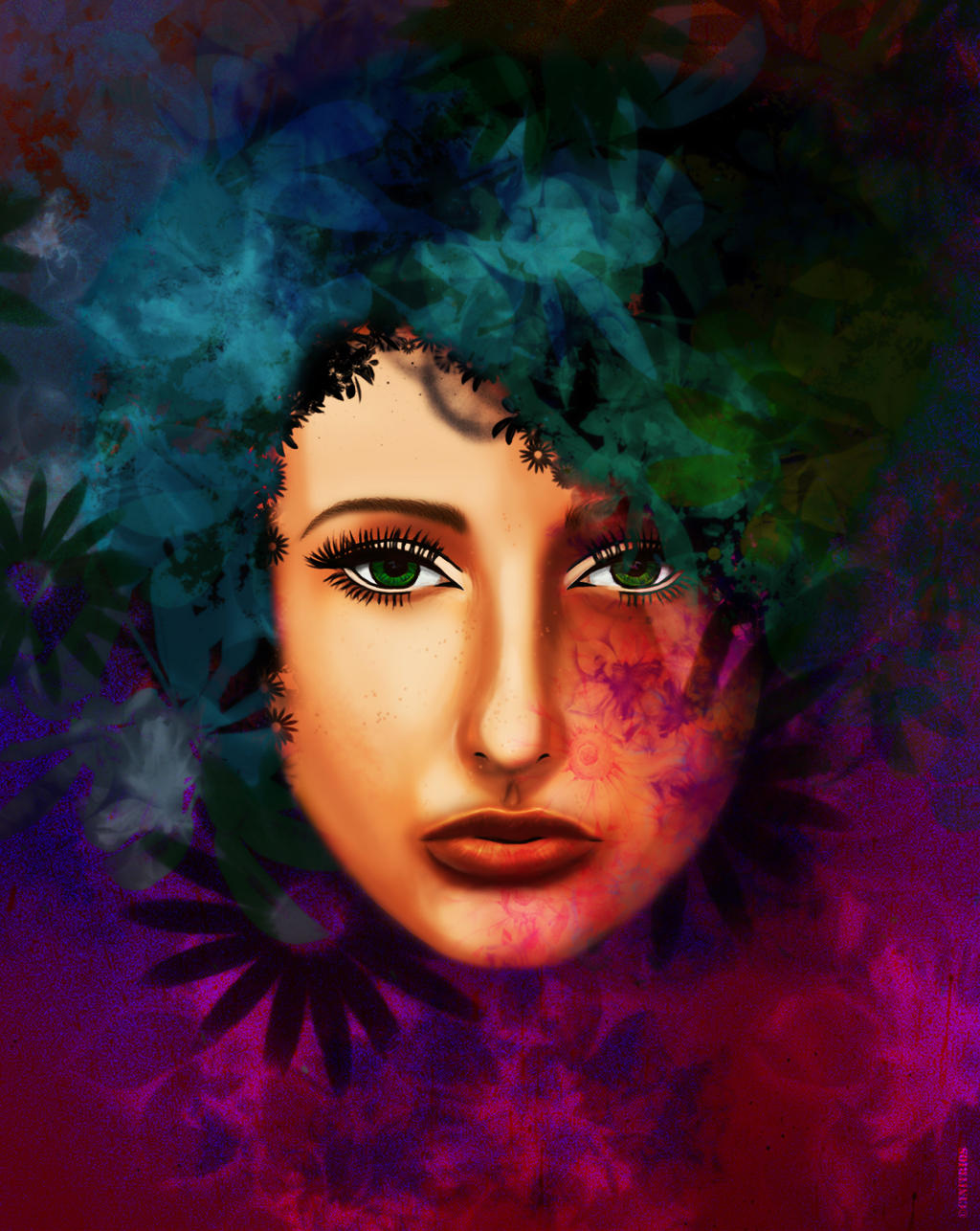 Flower Madness Female Portrait