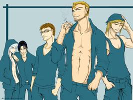 men in blue by riotycurls