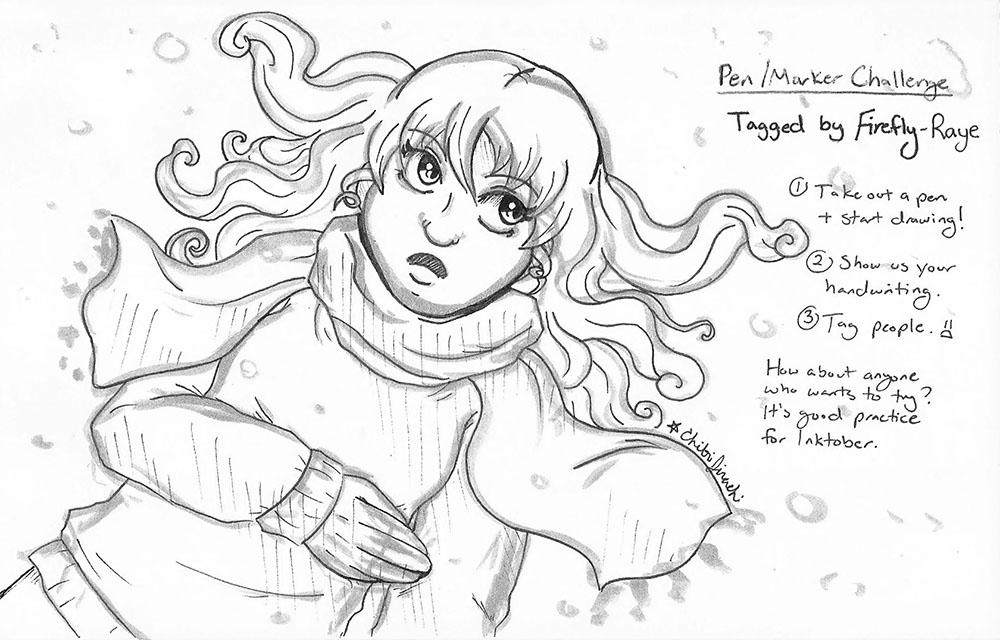 Snowfall - Pen/Marker Challenge by ChibiJirachi