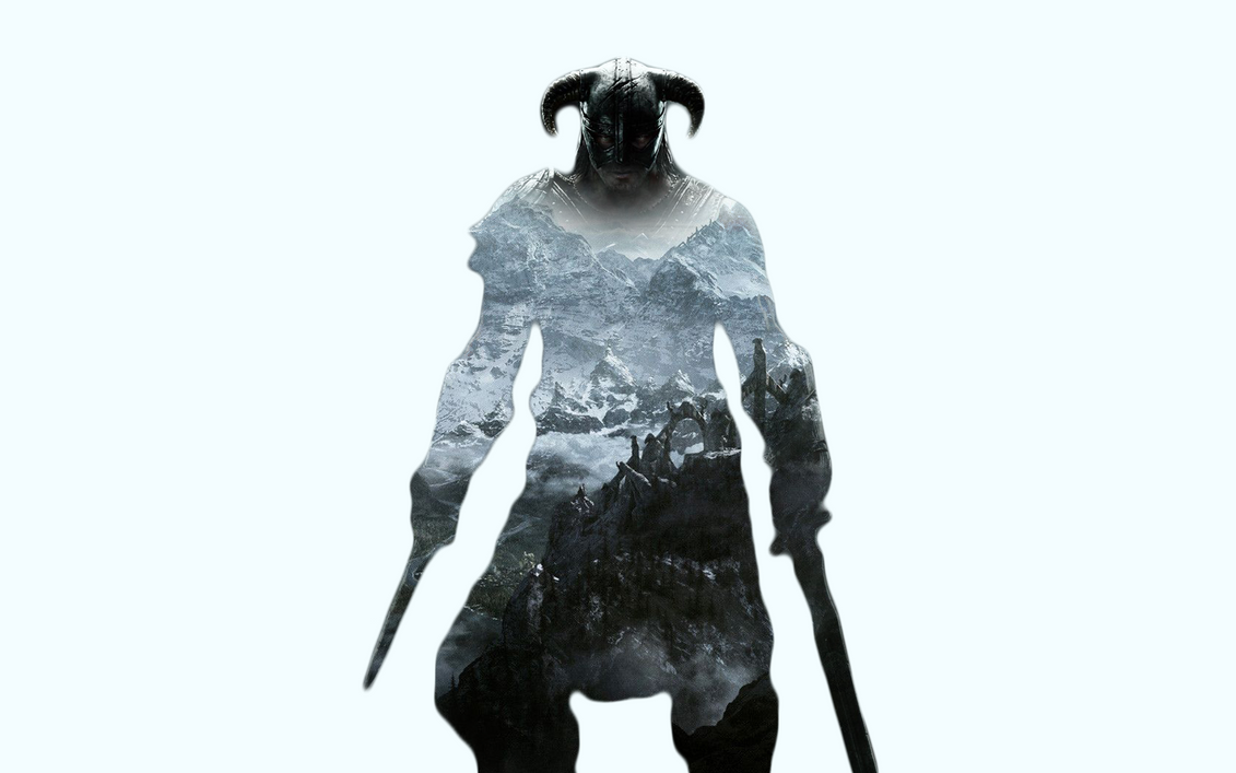 Skyrim Double Exposure Wallpaper 1680x1050 by Burock1996
