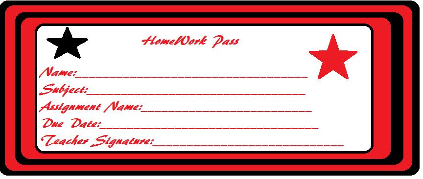 Homework Pass Printable (2nd - 6th Grade) - TeacherVision.com