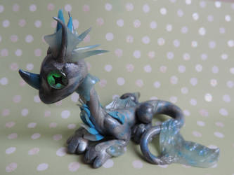 Silver polymer clay water dragon by Shippochan1000