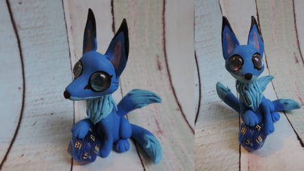 Blue polymer clay kitsune fox by Shippochan1000