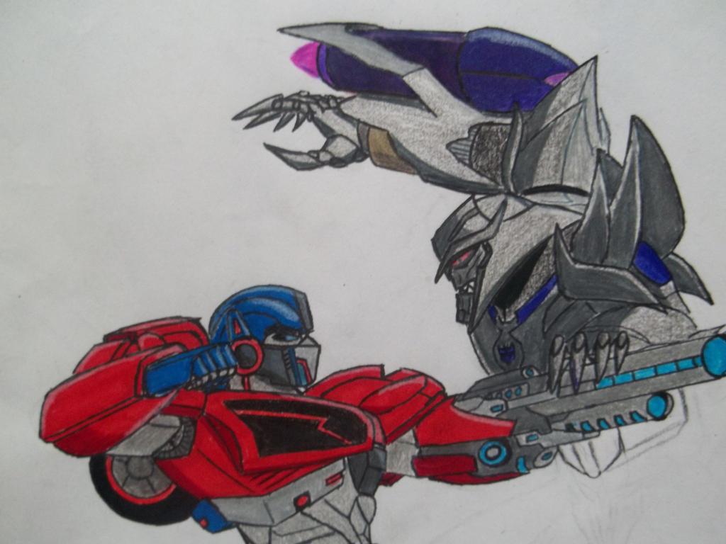 Transformers prime optimus vs megatron by reclaimerart on - Transformers cartoon optimus prime vs megatron ...