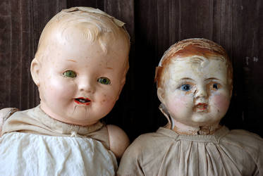 2 Antique Doll Heads Portrait Sitting Side by Side