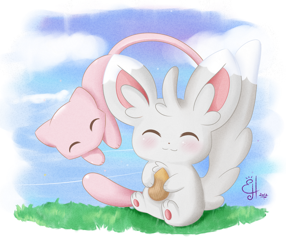 Mew and Minccino by Exceru-Hensggott