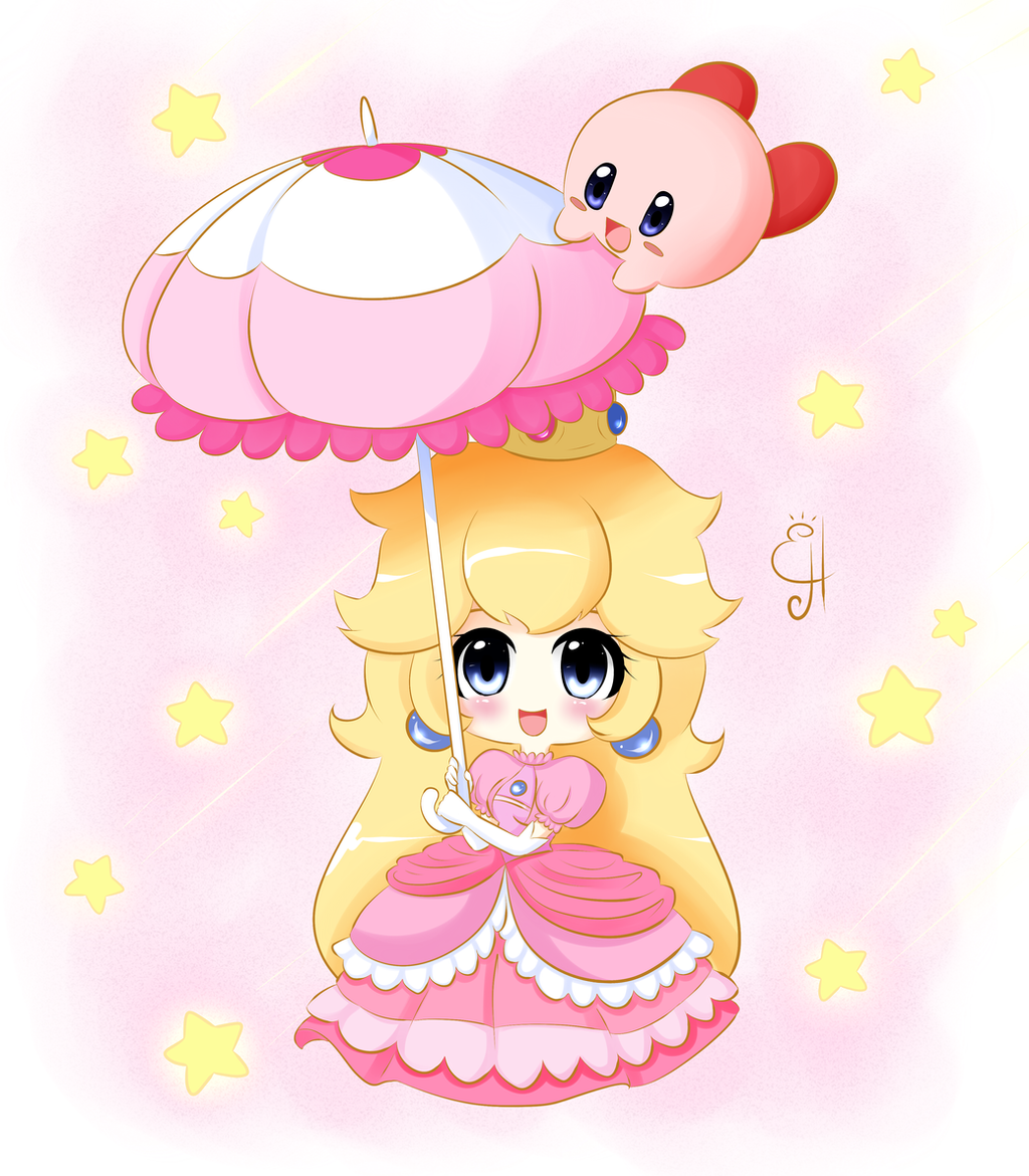 Chibi Peach and Kirby by Exceru-Hensggott