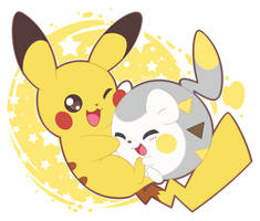 Pikachu and togedemaru by Exceru-Karina