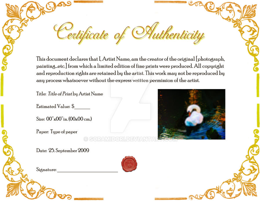 Certificate of authenticity by soramidori on deviantart for Limited edition print certificate of authenticity template
