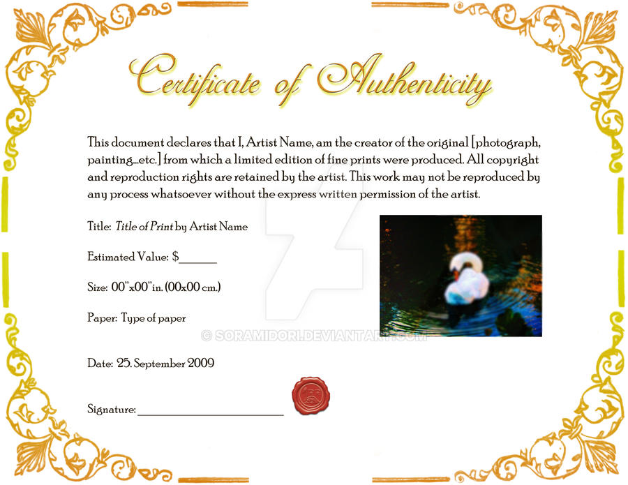 Certificate of authenticity template for artists image collections certificate of authenticity template art image collections certificate of authenticity by soramidori on deviantart certificate of yelopaper Choice Image