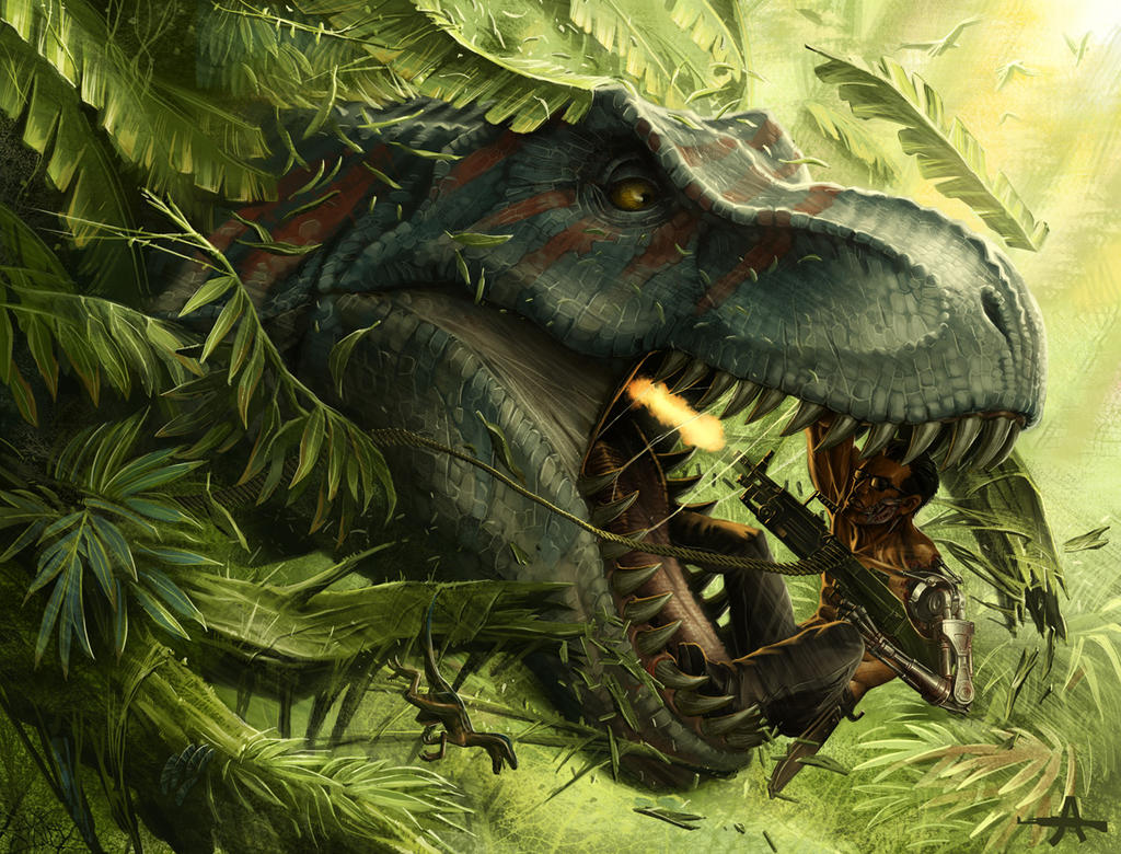 t-800 vs t-rex by ameeeeba